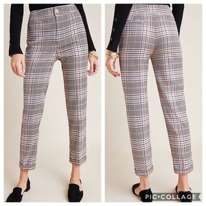 Anthropologie Malcom checked tapered trousers 12